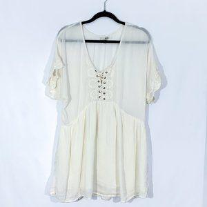 Amuse Boho style cream beach coverup dress Size M